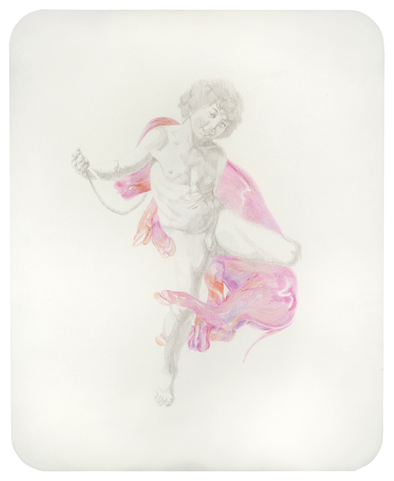 Amor victorioso. Grafito y lápiz de color sobre papel. 65 x 50 cm.