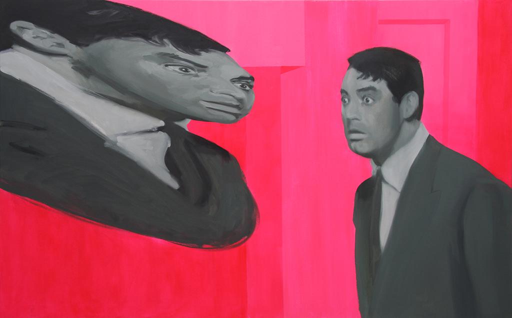Cary anamorfo. Acrílico y óleo sobre lienzo. 80 x 130 cm.