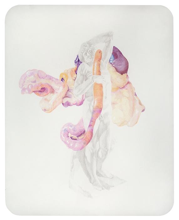 Esclavo moribundo. Grafito y lápiz de color sobre papel. 65 x 50 cm.