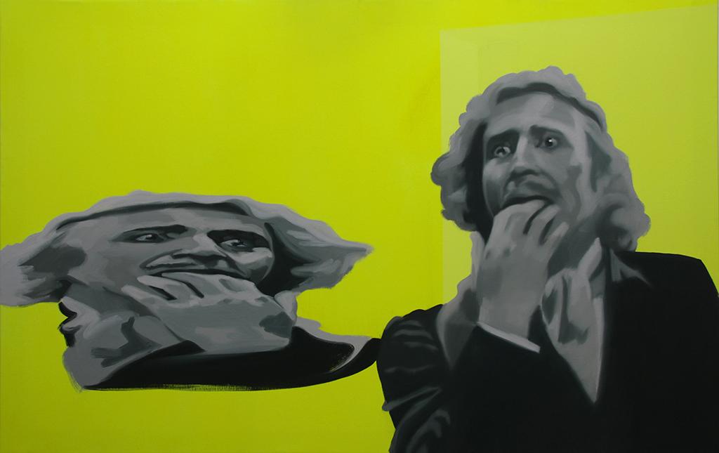 Frankensteen anamorfo. Acrílico y óleo sobre lienzo. 80 x 130 cm.