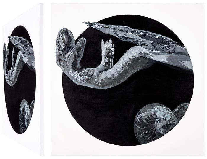 Hércules y Aqueloo. Óleo sobre lienzo. 70 x 70 cm.