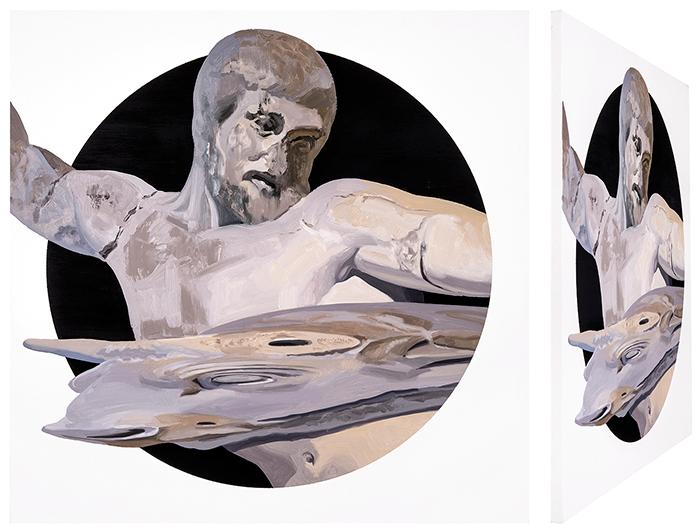 Hércules y el toro de Creta. Óleo sobre lienzo. 70 x 70 cm.