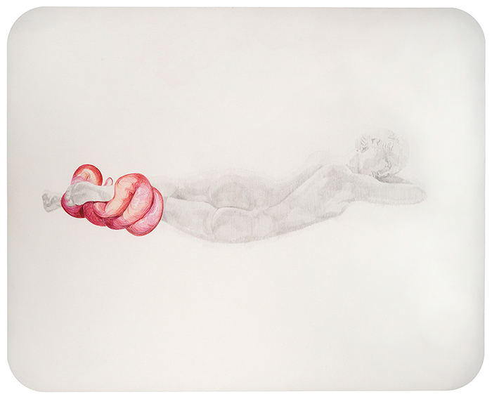 Hermafrodita dormido. Grafito y lápiz de color sobre papel. 50 x 65 cm.
