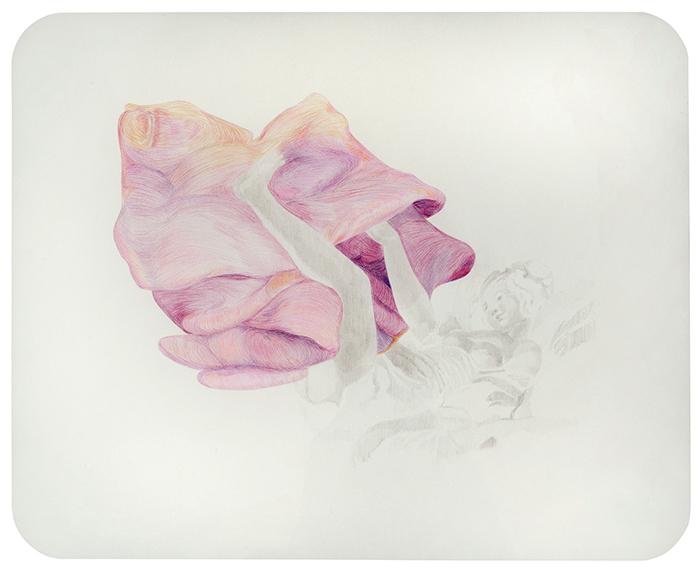 La rosquilla. Grafito y lápiz de color sobre papel. 50 x 65 cm.
