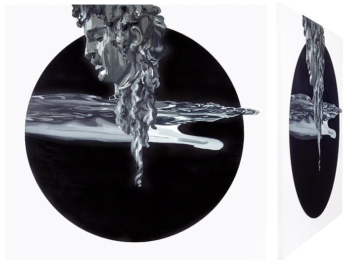 Perseo y Medusa I. Óleo sobre lienzo. 70 x 70 cm.