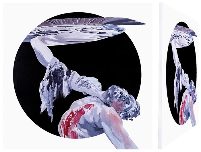 Teseo y el centauro. Óleo sobre lienzo. 70 x 70 cm.