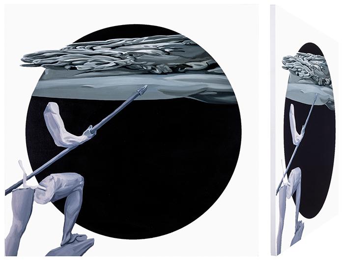 Ulises y Polifemo. Óleo sobre lienzo. 70 x 70 cm.