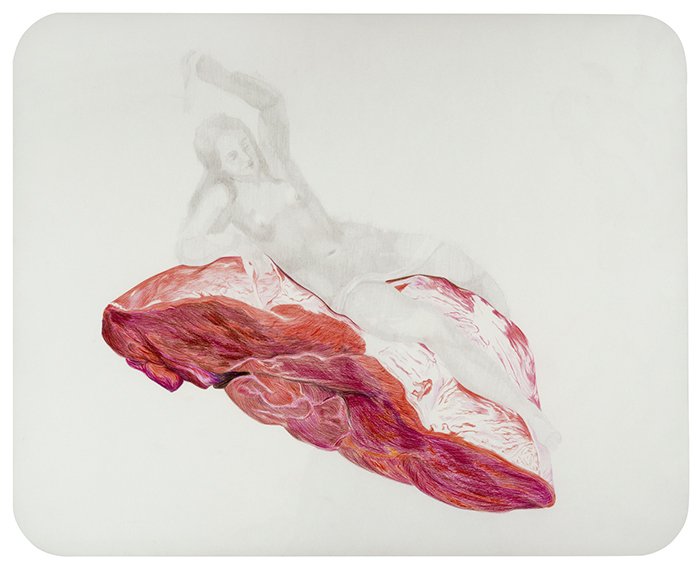 Venus, Vulcano y Marte. Grafito y lápiz de color sobre papel. 50 x 65 cm