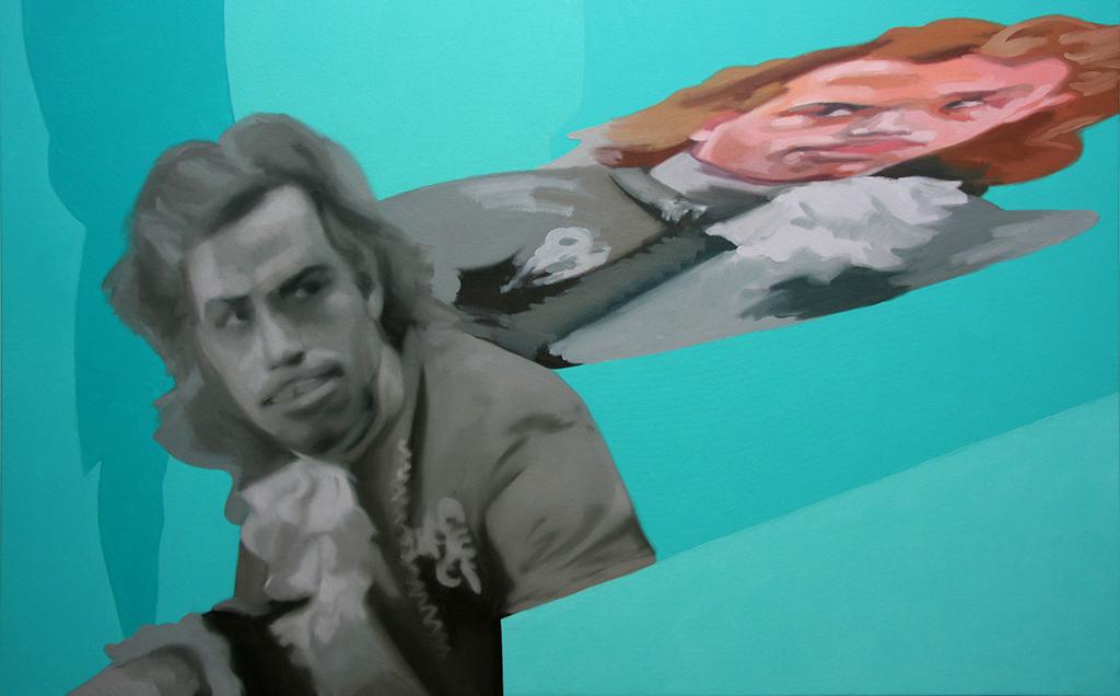 Wolfy anamorfo. Acrílico y óleo sobre lienzo. 100 x 150 cm.