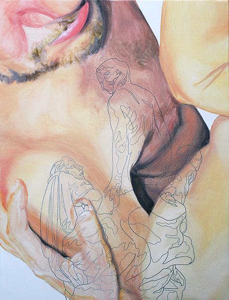 «a la vez vio el cielo y a su amante». Óleo sobre lienzo. 50 x 39 cm.