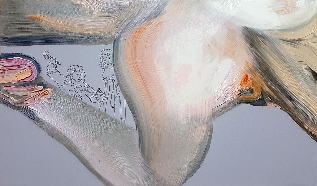 «las había visto llevar una vida vergonzosa». Óleo sobre lienzo. 28 x 46 cm.
