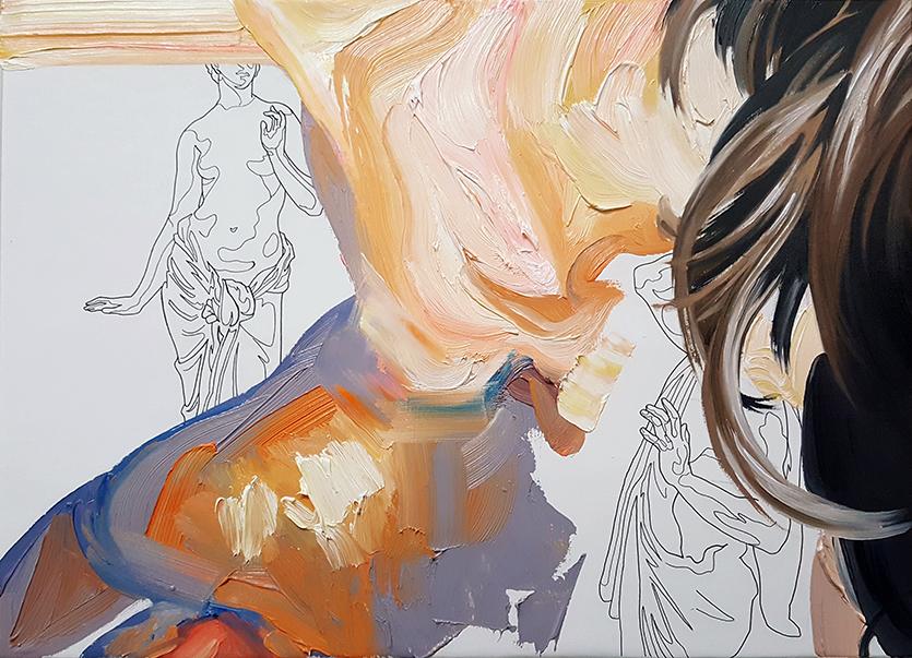 «le pareció que estaba tibia». Óleo sobre lienzo. 27 x 38 cm.