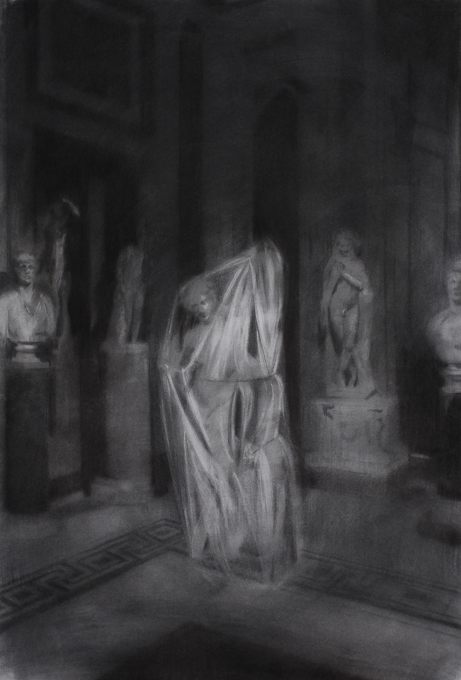 El Apolo Sauróctono regresa a la Villa Borghese. Carboncillo sobre papel. 120 x 70 cm.