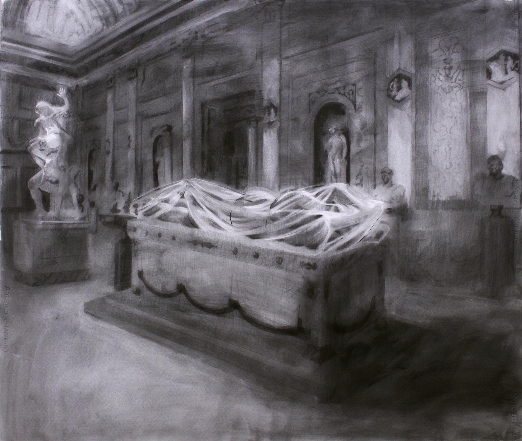El Hermafrodita dormido regresa a la Villa Borghese. Carboncillo sobre papel. 120 x 140 cm.