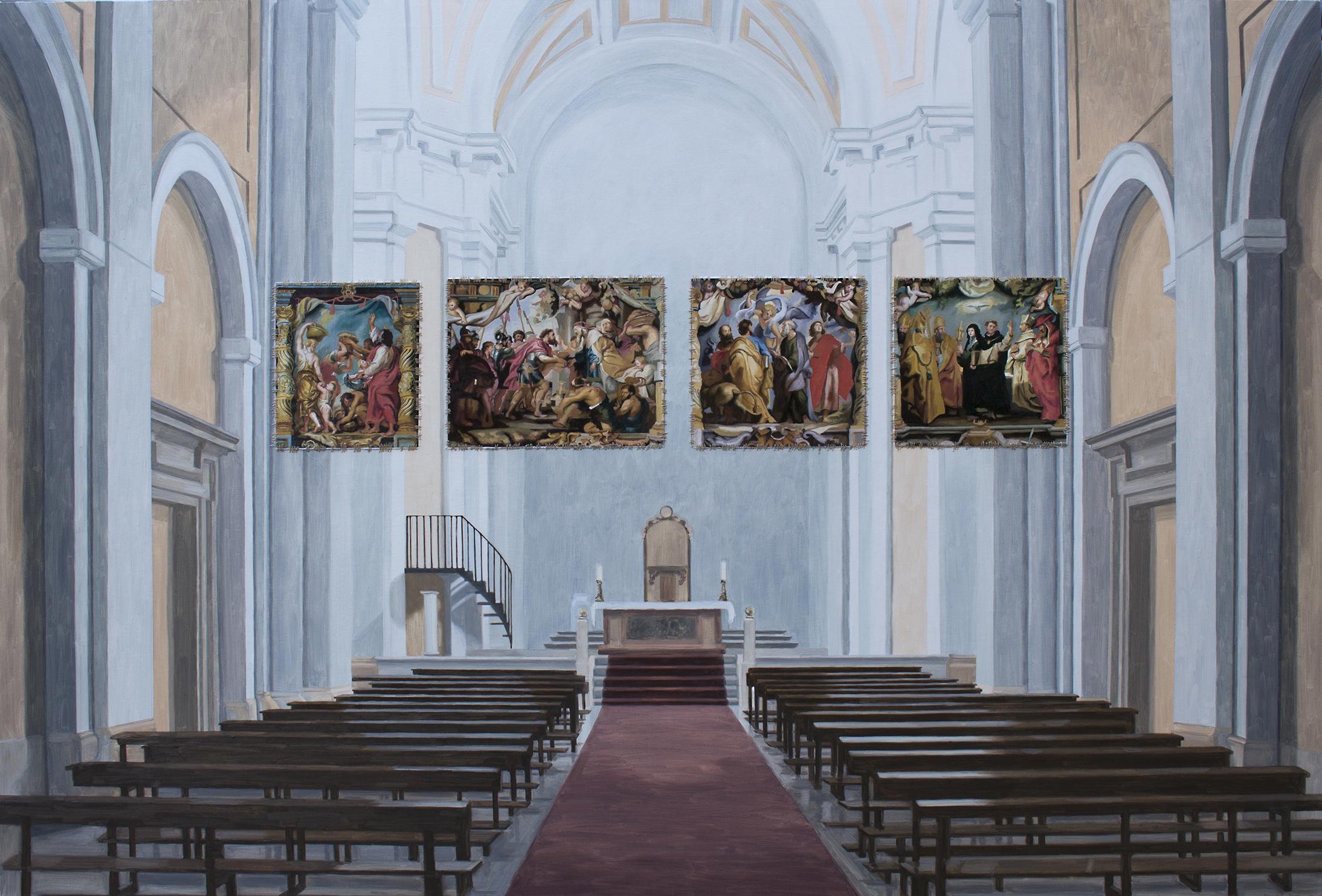 Sustracción en el Convento de las Dominicas de Loeches (Rubens). Óleo sobre lienzo. 110 x 162 cm.