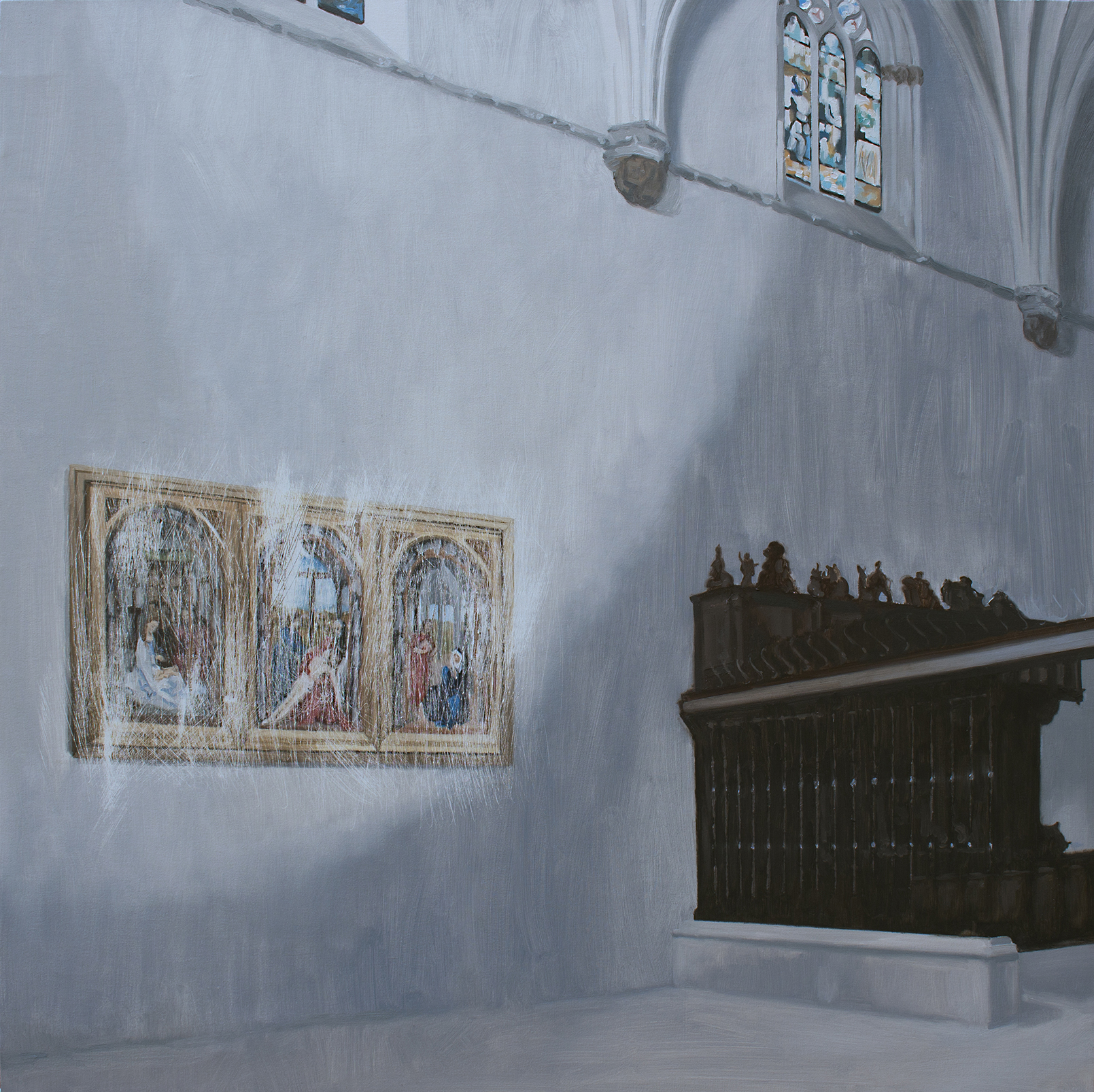 Sustracción en la Cartuja de Miraflores (Van der Weyden). Óleo sobre lienzo. 65 x 65 cm.
