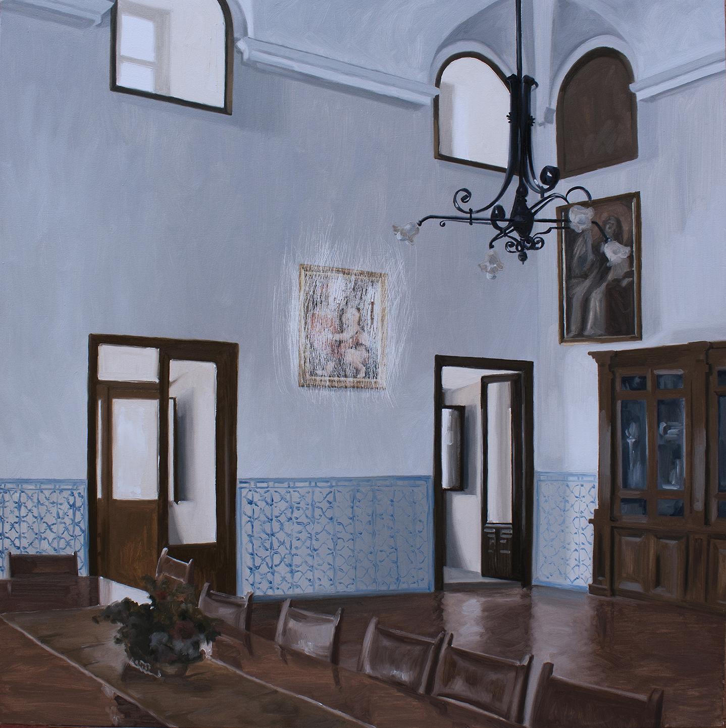 Sustracción en la habitación alta del prior del Monasterio de El Escorial (Rafael). Óleo sobre lienzo. 65 x 65 cm.