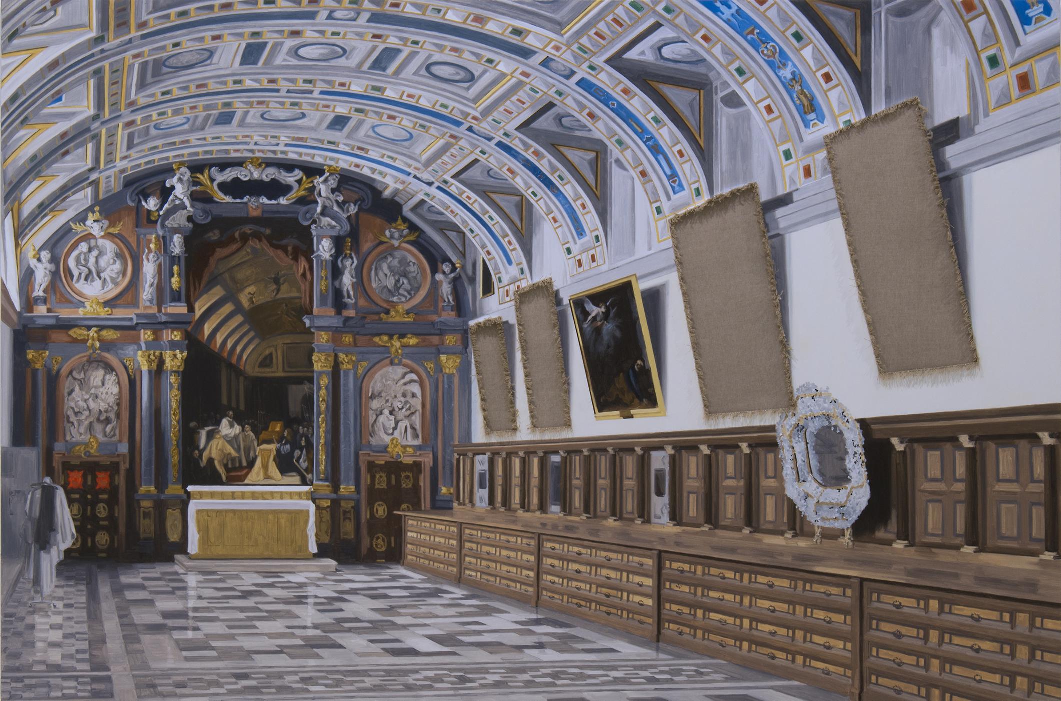 Sustracción en la sacristía del Monasterio de El Escorial (Alonso Cano y Tiziano). Óleo sobre lienzo. 130 x 195 cm.