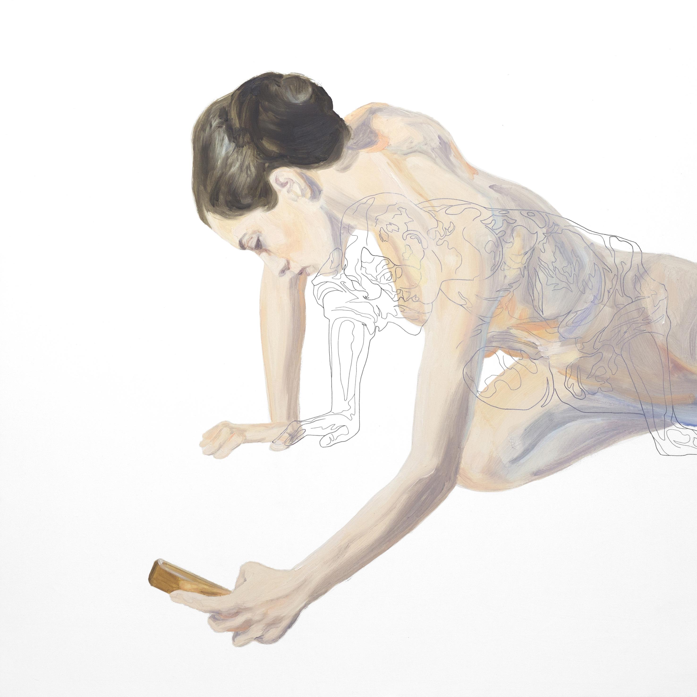 No sabe qué es lo que ve. Tinta china y óleo sobre lienzo. 80 x 80 cm.