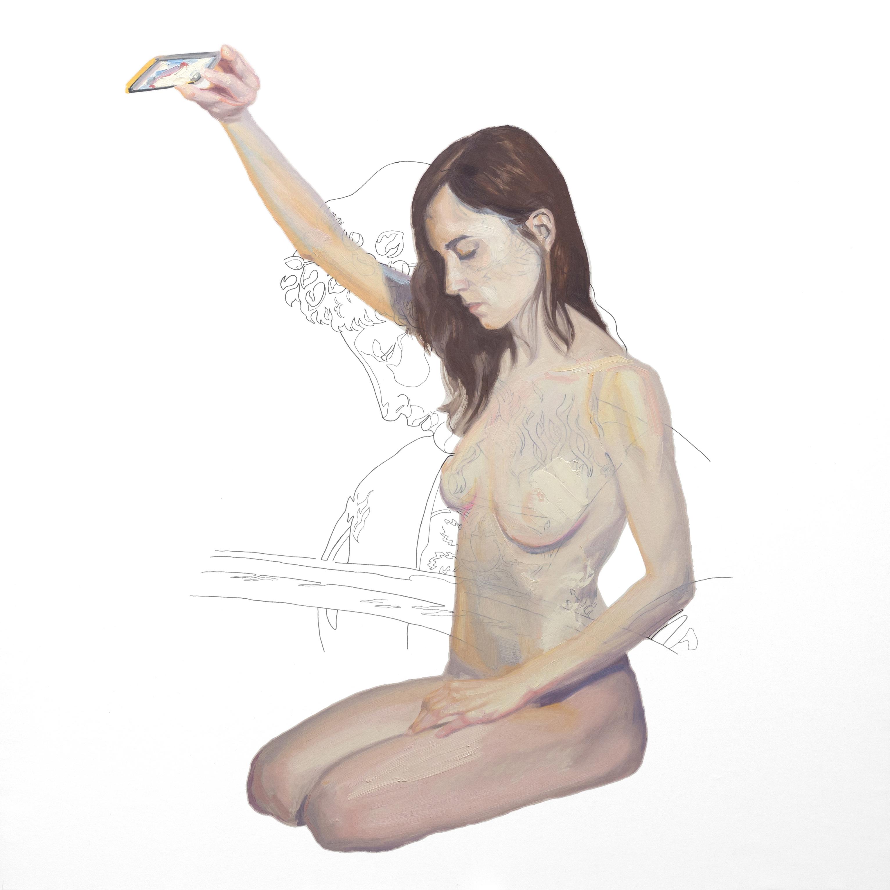 Se desea a sí mismo sin saberlo. Tinta china y óleo sobre lienzo. 80 x 80 cm.