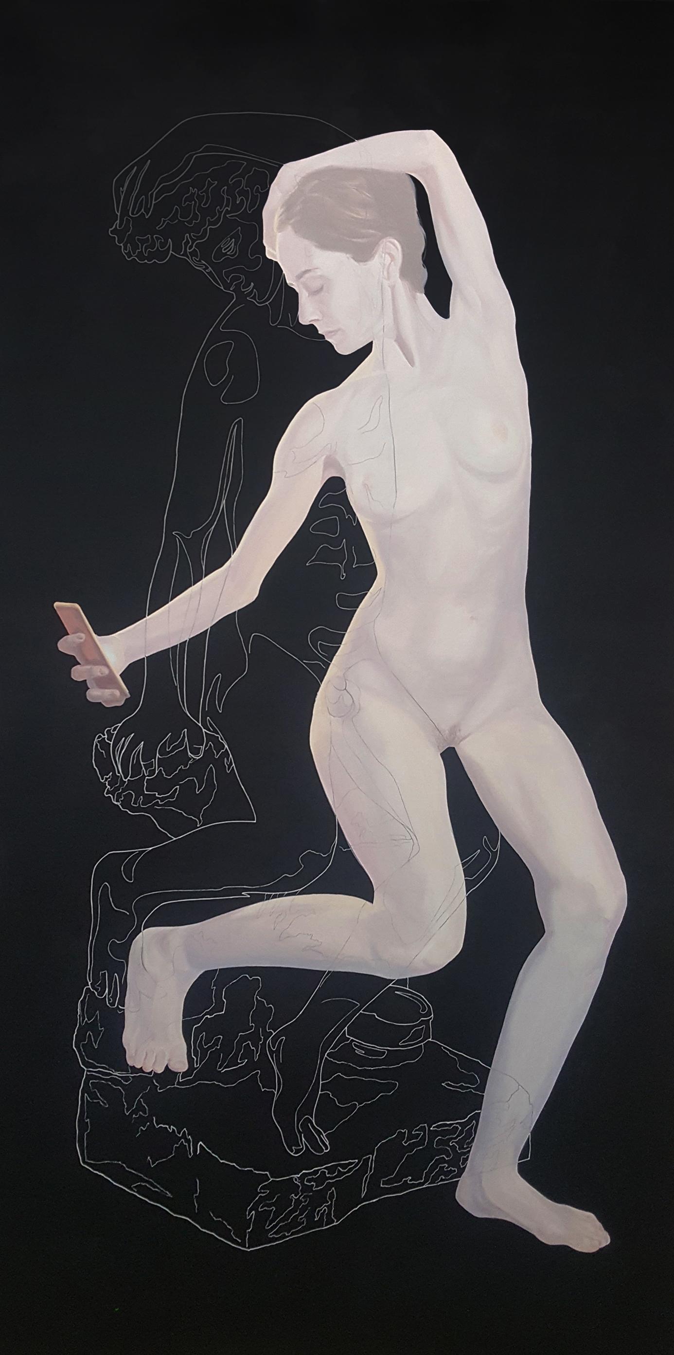 Lo que amas, lo pierdes en cuanto te vuelves de espaldas. Tinta china y óleo sobre lienzo. 150 x 75 cm.